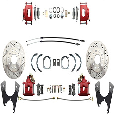 DRILLED/SLOTTED ROTORS WITH RED COATED CALIPERS UPGRADE FOR 4 WHEEL DISC CONVERSION (ea)