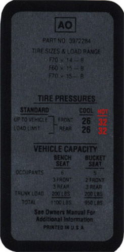 1969-70 TIRE PRESSURE DECAL
