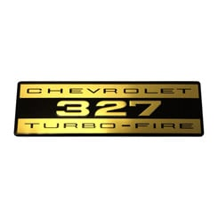 VALVE COVER DECAL, 327 TURBO FIRE, ALUMINUM, ORIGINAL  (ea)