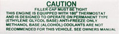 1962-1964 CAUTION COOLANT DECAL AFT.12/62-TILL 4/64