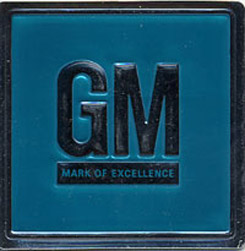 1967 GM, MARK OF EXCELLENCE, DOOR JAM DECAL, TEAL