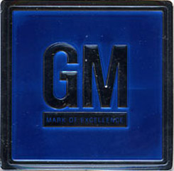 1968-75 GM MARK OF EXCELLENCE, DOOR JAM DECAL, BLUE