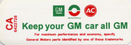 1968-69 AIR CLEANER SERVICE DECAL (KEEP YOUR GM CAR ALL GM)