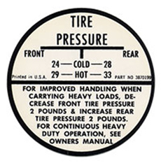 1958-62 TIRE PRESSURE DECAL (EXCEPT 59-60)
