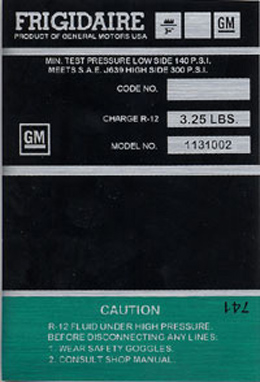 1969-71 AIR COND. COMPRESSOR DECAL