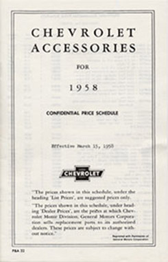 1958 ACCESSORIES LIST (ea)