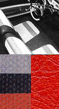 1958 SEAT COVERS, BENCH/REAR, 2 DR HT, RED IMPALA (W/RED, SILVER & BLACK CLOTH INSERTS)