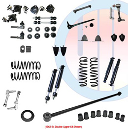 1959-60 COMPLETE SUSPENSION KIT, SMALL BLOCK, DOUBLE UPPER