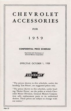 1959 ACCESSORIES LIST (ea)