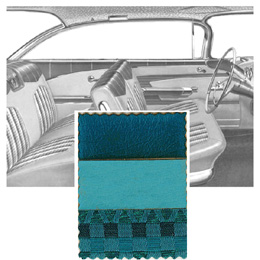 1959 DOOR PANELS, FRONT/REAR, 2 DR HT, AQUA