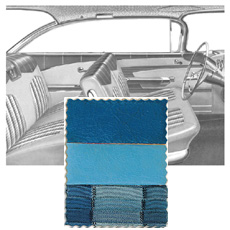 "1959 DOOR PANELS, FRONT/REAR, 2 DR HT, BLUE (set)""Must send in Original Top Rails Cleaned"""