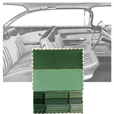 1959 DOOR PANELS, FRONT/REAR, 2 DR HT, GREEN