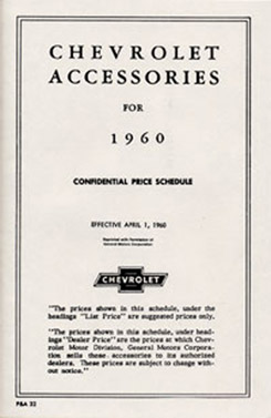 1960 ACCESSORIES LIST (ea)