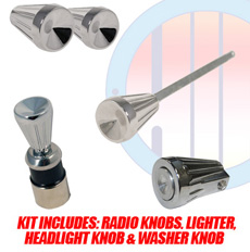 1961-63 DASH KNOB KIT, INCLUDES: CIGARETTE LIGHTER, HEADLIGHT SWITCH KNOB, RADIO KNOBS & WIPER KNOB (kit)