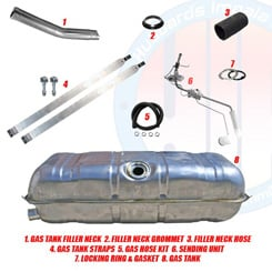 1961-63 GAS TANK KIT, SMALL BLOCK, 283 and 6 cylinder