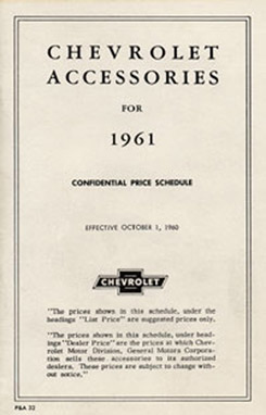 1961 ACCESSORIES LIST (ea)