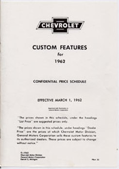 1962 ACCESSORIES LIST (ea)
