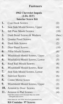 1962 INTERIOR SCREW KIT, HARDTOP, 89 PCS