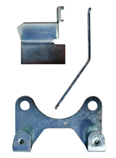 1963-68 BACK UP SWITCH MOUNTING KIT, MUNCIE 4 SPEED, includes bracket, shield, rod, clips, screws, and washers