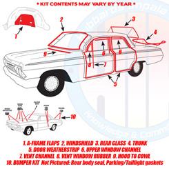 1962 Biscayne Bel Air Impala 2 Dr Hardtop//Sedan Rubber Bumper Stopper Kit
