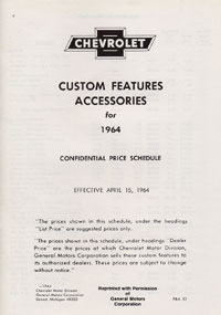 1964 ACCESSORIES LIST (ea)