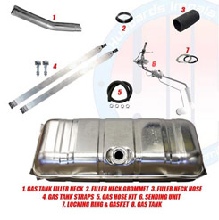 1964 GAS TANK KIT, STAINLESS  STEEL, SMALL BLOCK