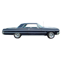 1964 SIDE MOULDINGS, 2 DR, IMPALA (fenders, doors, quarters and C moulding) (set)