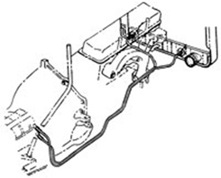 1965-66 TRANSMISSION COOLING LINES, BIG BLOCK,W/POWER GLIDE,2 1/2 spacing radiator (pr)