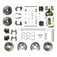 1965-68 FRONT AND REAR DISC BRAKE CONVERSION KIT, WITH RED CALIPERS AND DRILLED AND SLOTTED ROTORS (kit)
