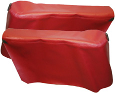 1966-67 REAR ARM REST COVERS, CONV, IMPALA , RED (pr)