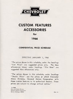 1966 ACCESSORIES LIST (ea)