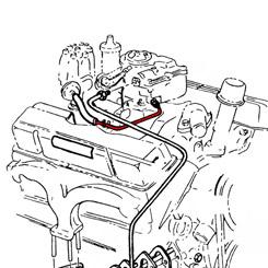 distributor vacuum lines 76 Chevy Impala 1966 distributor vacuum line sb 2bbl