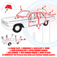 1966 COMPLETE WEATHERSTRIP KIT, 4 DOOR SEDAN, IMPALA