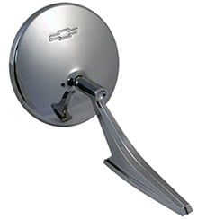 1967-1968 OUTSIDE DOOR MIRROR, ROUND (RECT. BASE) W/HARDWARE (EA)