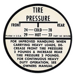 1968 TIRE PRESSURE DECAL