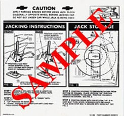 1964 JACKING INSTRUCTIONS, CONVERTIBLE