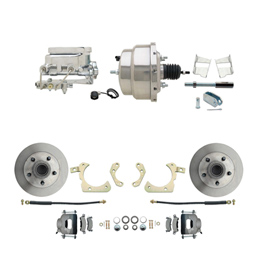 "1959-1964 GM Full Size Front Disc Brake Kit (Impala, Bel Air, Biscayne) & 8"" Dual Chrome Booster Conversion Kit w/ Flat Top Chrome Master Cylinder Bottom Mount Disc/ Drum Proportioning Valve Kit"