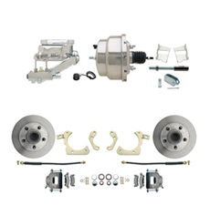 "1959-1964 GM Full Size Front Disc Brake Kit (Impala, Bel Air, Biscayne) & 8"" Dual Chrome Booster Conversion Kit w/ Flat Top Chrome Master Cylinder Left Mount Disc/ Drum Proportioning Valve Kit"