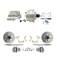 "1959-1964 GM Full Size Front Disc Brake Kit (Impala, Bel Air, Biscayne) & 8"" Dual Chrome Booster Conversion Kit w/ Chrome Master Cylinder Bottom Mount Disc/ Drum Proportioning Valve Kit"