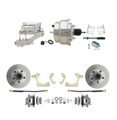"1959-1964 GM Full Size Front Disc Brake Kit (Impala, Bel Air, Biscayne) & 8"" Dual Stainless Steel Booster Conversion Kit w/ Chrome Flat Top Master Cylinder Left Mount Disc/ Drum Proportioning Valve Kit"