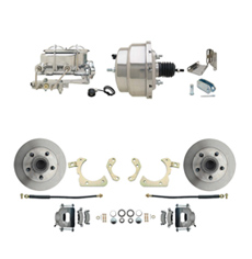 "1959-1964 GM Full Size Front Disc Brake Kit (Impala, Bel Air, Biscayne) & 8"" Dual Stainless Steel Conversion Kit w/ Chrome Master Cylinder Bottom Mount Disc/ Drum Proportioning Valve Kit"