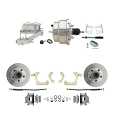 "1959-1964 GM Full Size Front Disc Brake Kit (Impala, Bel Air, Biscayne) & 8"" Dual Stainless Steel Booster Conversion Kit w/ Chrome Master Cylinder Left Mount Disc/ Drum Proportioning Valve Kit"
