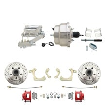 "1959-1964 GM Full Size Front Disc Brake Kit Red Powder Coated Calipers Drilled/Slotted Rotors (Impala, Bel Air, Biscayne) & 8"" Dual Chrome Booster Conversion Kit w/ Flat Top Chrome Master Cylinder Left Mount Disc/ Drum Proportioning Valve Kit"