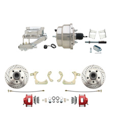 "1959-1964 GM Full Size Front Disc Brake Kit Red Powder Coated Calipers Drilled/Slotted Rotors (Impala, Bel Air, Biscayne) & 8"" Dual Stainless Steel Booster Conversion Kit w/ Chrome Flat Top Master Cylinder Left Mount Disc/ Drum Proportioning Valve Kit"