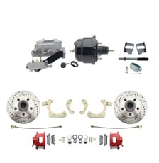 "1959-1964 GM Full Size Front Disc Brake Kit Red Powder Coated Calipers Drilled/Slotted Rotors (Impala, Bel Air, Biscayne) & 8"" Dual Powder Coated Black Booster Conversion Kit w/ Aluminum Master Cylinder Left Mount Disc/  Drum Proportioning Valve Kit"