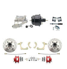 "1959-1964 GM Full Size Front Disc Brake Kit Red Powder Coated Calipers Drilled/Slotted Rotors (Impala, Bel Air, Biscayne) & 8"" Dual Powder Coated Black Booster Conversion Kit w/ Chrome Flat Top Master Cylinder Left Mount Disc/Drum Proportioning Valve Kit"