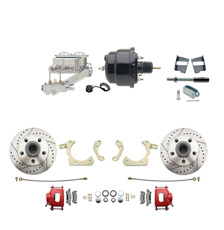 "1959-1964 GM Full Size Front Disc Brake Kit Red Powder Coated Calipers Drilled/Slotted Rotors (Impala, Bel Air, Biscayne) & 8"" Dual Powder Coated Black Booster Conversion Kit w/ Chrome Master Cylinder Left Mount Disc/ Drum Proportioning Valve Kit"