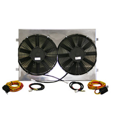 DUAL 11' ELECTRIC FANS With POLISHED FINISH SHROUD