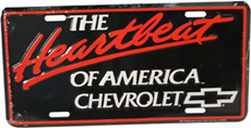 "LICENSE PLATE ""HEARTBEAT OF AMERICA,  CHEVROLET"""