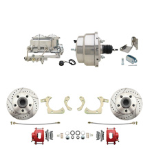 "1959-1964 GM Full Size Front Disc Brake Kit Red Powder Coated Calipers Drilled/Slotted Rotors (Impala, Bel Air, Biscayne) & 8"" Dual Stainless Steel Conversion Kit w/ Chrome Master Cylinder Bottom Mount Disc/  Drum Proportioning Valve Kit"